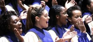 joyful choir singing